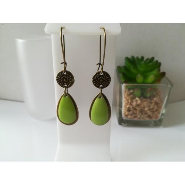 Kit boucles d'oreilles pendentif bronze et sequin émail vert - Photo n°1