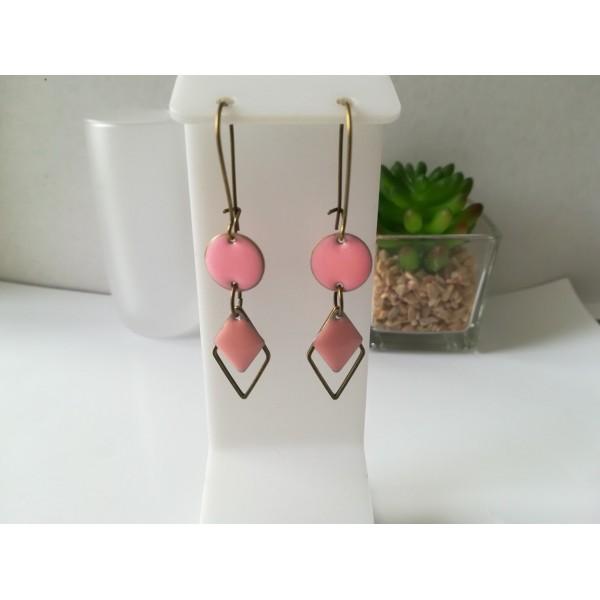Kit boucles d'oreilles connecteur bronze et sequin émail rose - Photo n°1