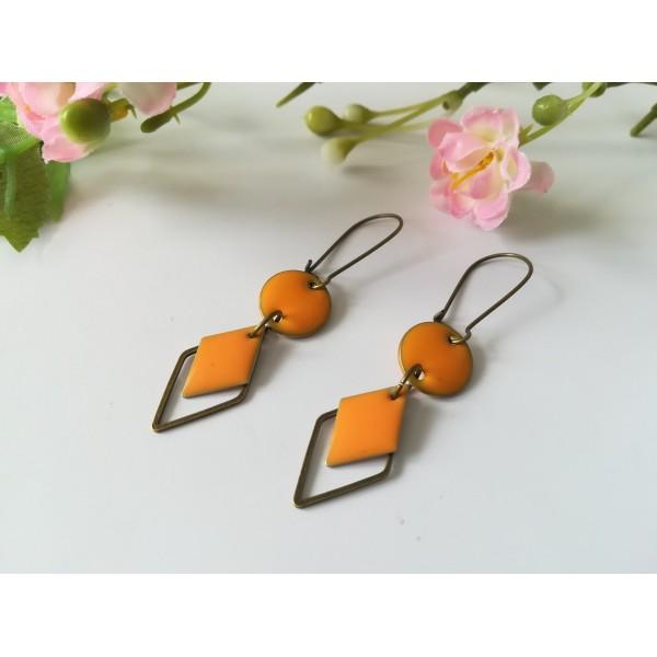 Kit boucles d'oreilles connecteur bronze et sequin émail orange - Photo n°2