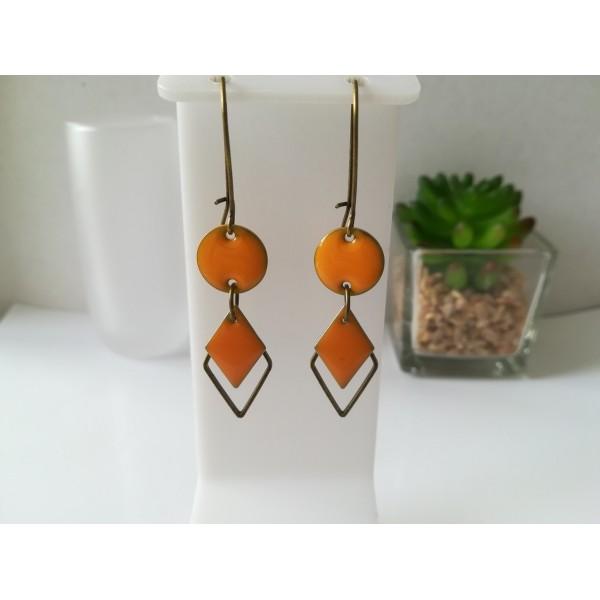 Kit boucles d'oreilles connecteur bronze et sequin émail orange - Photo n°1