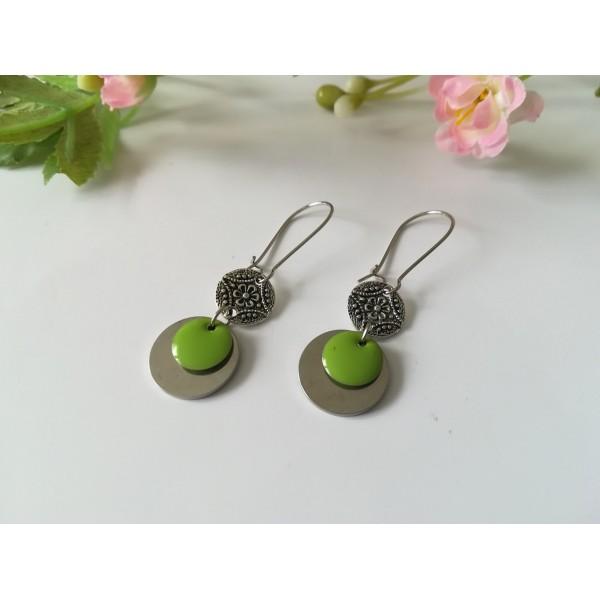 Kit boucles d'oreilles connecteur argent mat et sequin émail vert - Photo n°2