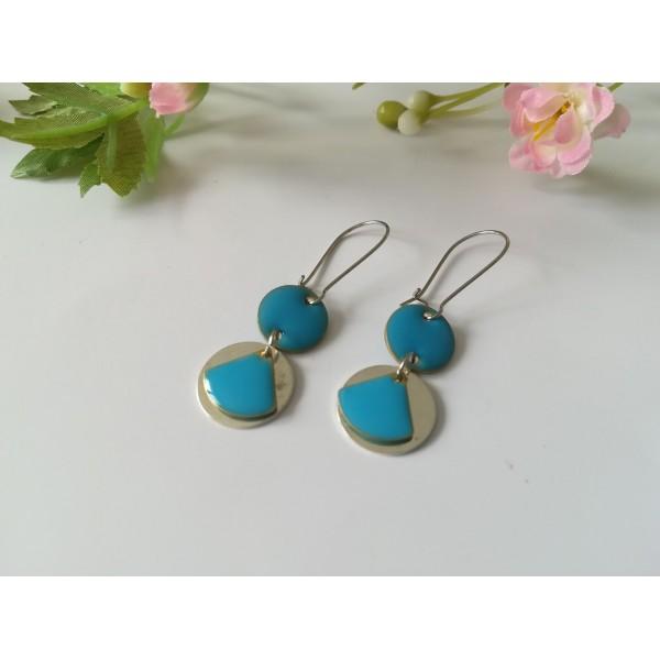 Kit boucles d'oreilles connecteur et sequin émail bleu - Photo n°2