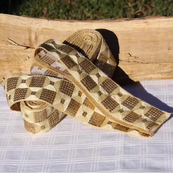 Galon écru paillettes et coton, 5 cm de large - Photo n°3