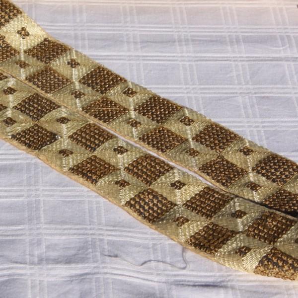 Galon écru paillettes et coton, 5 cm de large - Photo n°4