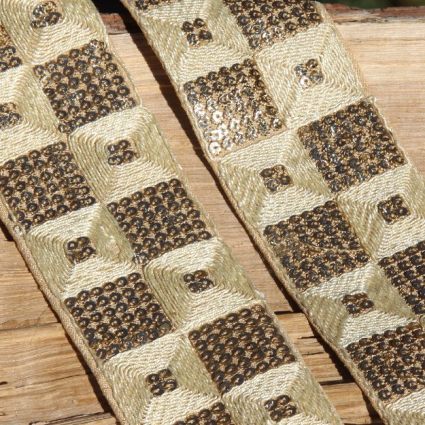 Galon écru paillettes et coton, 5 cm de large - Photo n°1