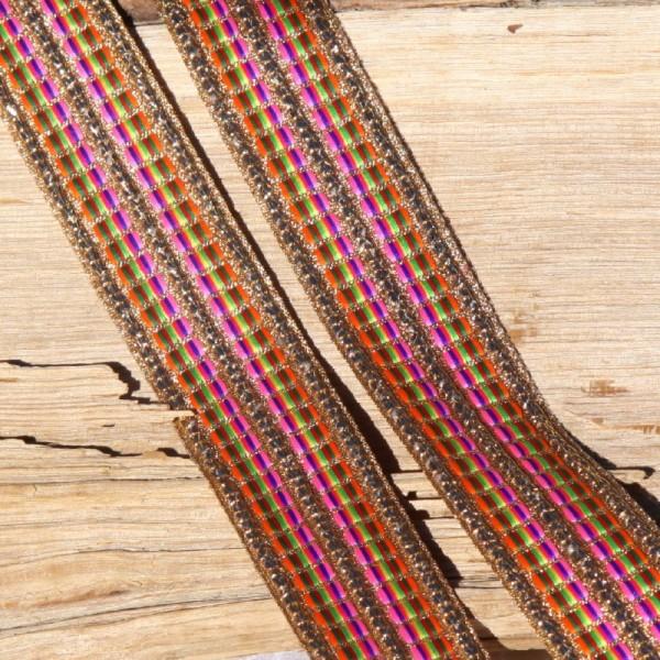 Ruban rayé multicolore et doré de 2.8 cm de large - Photo n°3