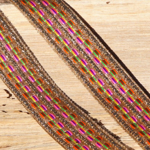 Ruban rayé multicolore et doré de 2.8 cm de large - Photo n°1