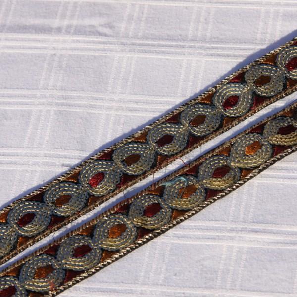 Galon à paillettes brique et ocre de 2.5 cm de large - Photo n°3