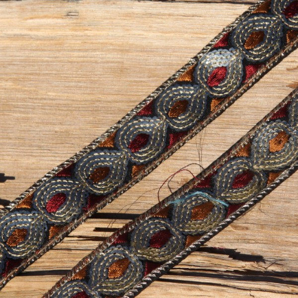 Galon à paillettes brique et ocre de 2.5 cm de large - Photo n°1