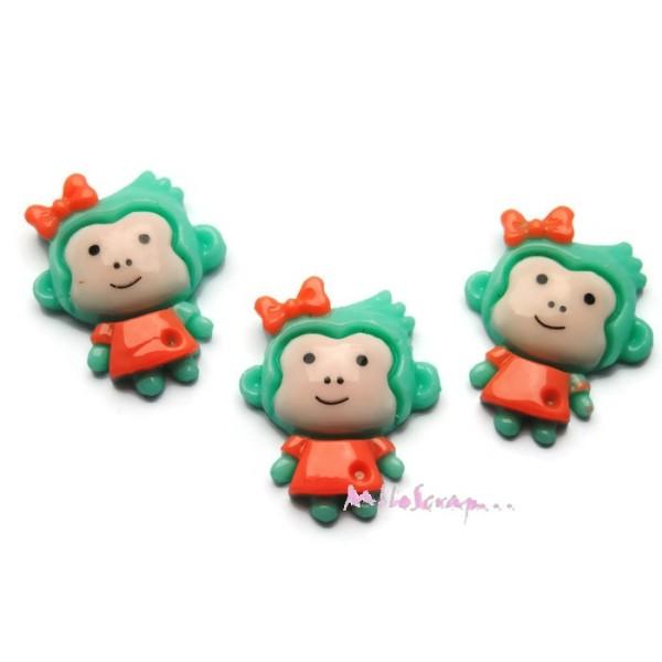 Cabochons singes résine multicolore - 3 pièces - Photo n°1