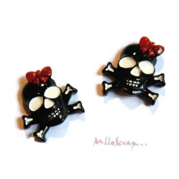Cabochons têtes de mort noir, rouge - 2 pièces - Photo n°1