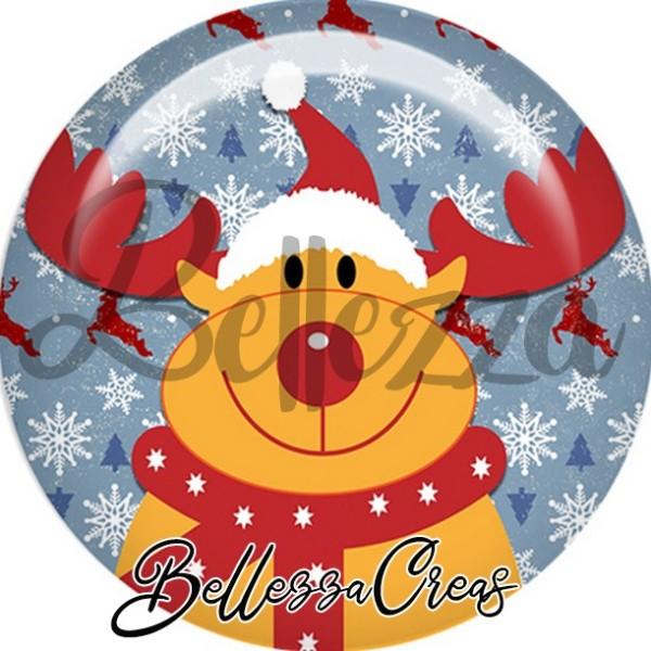 Cabochon, renne de noël,Noël, évènement, plusieurs tailles disponibles - Photo n°1