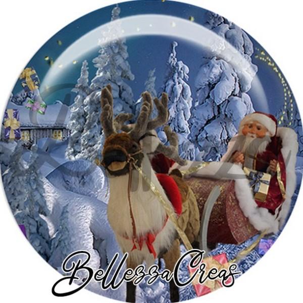 Cabochon, père Noël, traîneau,Noël, évènement, plusieurs tailles disponibles - Photo n°1