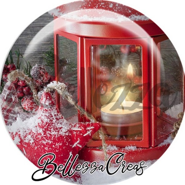 Cabochon, lanterne rouge,Noël, évènement, plusieurs tailles disponibles - Photo n°1