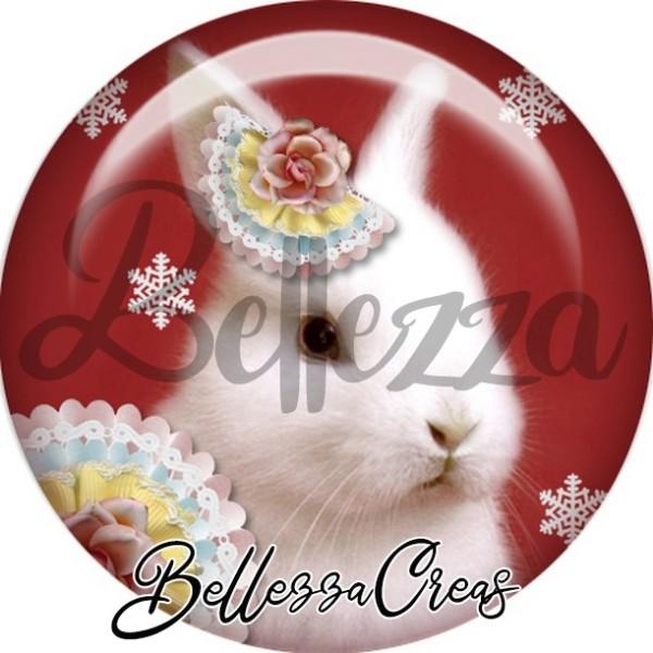 Cabochon, lapin blanc,Noël, évènement, plusieurs tailles disponibles - Photo n°1