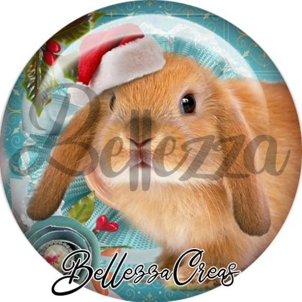 Cabochon, lapin brun,Noël, évènement, plusieurs tailles disponibles - Photo n°1