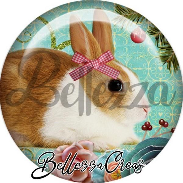 Cabochon, lapin brun et tâche blanche,Noël, évènement, plusieurs tailles disponibles - Photo n°1
