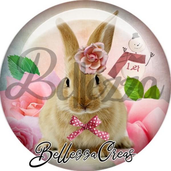 Cabochon, lapin brun bonhomme de neige,Noël, évènement, plusieurs tailles disponibles - Photo n°1
