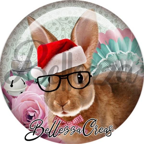 Cabochon, lapin brun lunettes,Noël, évènement, plusieurs tailles disponibles - Photo n°1