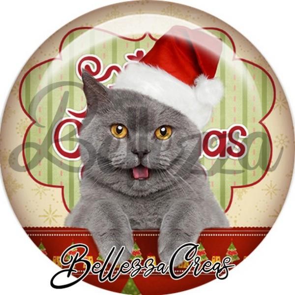 Cabochon, chat gris bonnet noël,Noël, évènement, plusieurs tailles disponibles - Photo n°1