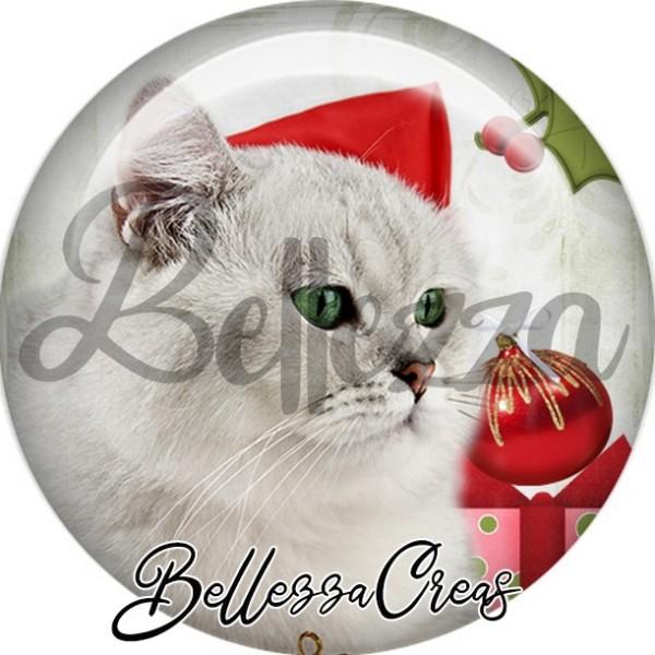 Cabochon, chat gris blanc boule de noël,Noël, évènement, plusieurs tailles disponibles - Photo n°1