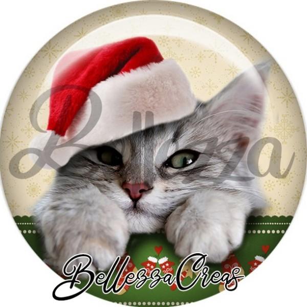 Cabochon, chat gris blanc bonnet,Noël, évènement, plusieurs tailles disponibles - Photo n°1