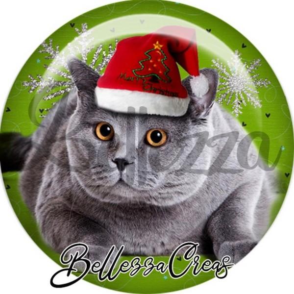 Cabochon, chat gris bonnet sapin,Noël, évènement, plusieurs tailles disponibles - Photo n°1