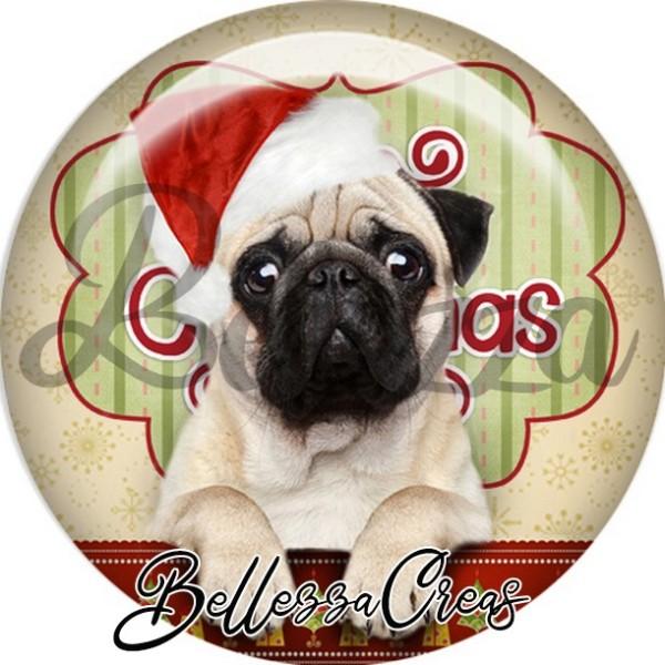 Cabochon, bulldog blanc bonnet,Noël, évènement, plusieurs tailles disponibles - Photo n°1