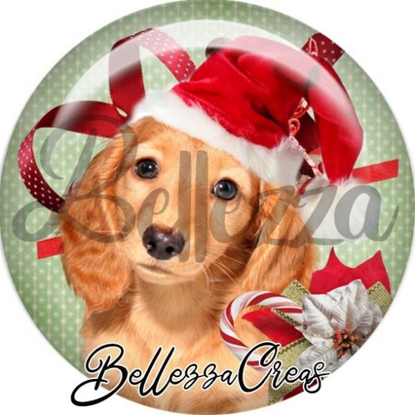 Cabochon, chien brun bonnet noël,Noël, évènement, plusieurs tailles disponibles - Photo n°1