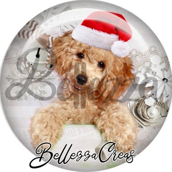 Cabochon, caniche brun bonnet noël,Noël, évènement, plusieurs tailles disponibles - Photo n°1