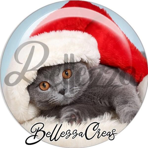 Cabochon, chat gris couché bonnet noël,Noël, évènement, plusieurs tailles disponibles - Photo n°1