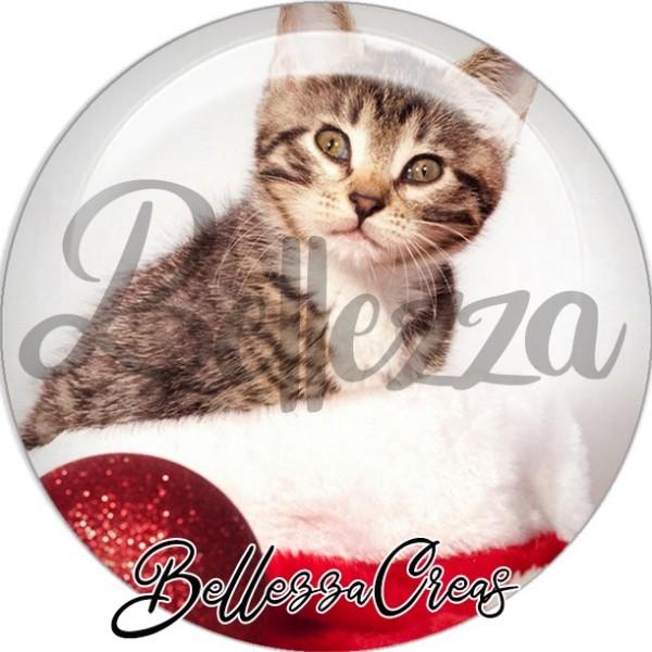 Cabochon, chaton dans bonnet noël,Noël, évènement, plusieurs tailles disponibles - Photo n°1