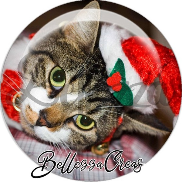 Cabochon, chat goutière couché bonnet noël,Noël, évènement, plusieurs tailles disponibles - Photo n°1
