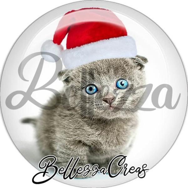 Cabochon, chat gris yeux bleus,Noël, évènement, plusieurs tailles disponibles - Photo n°1