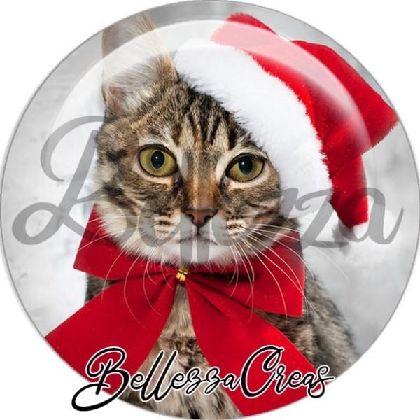 Cabochon, chat gouttière bonnet noeud noël,Noël, évènement, plusieurs tailles disponibles - Photo n°1