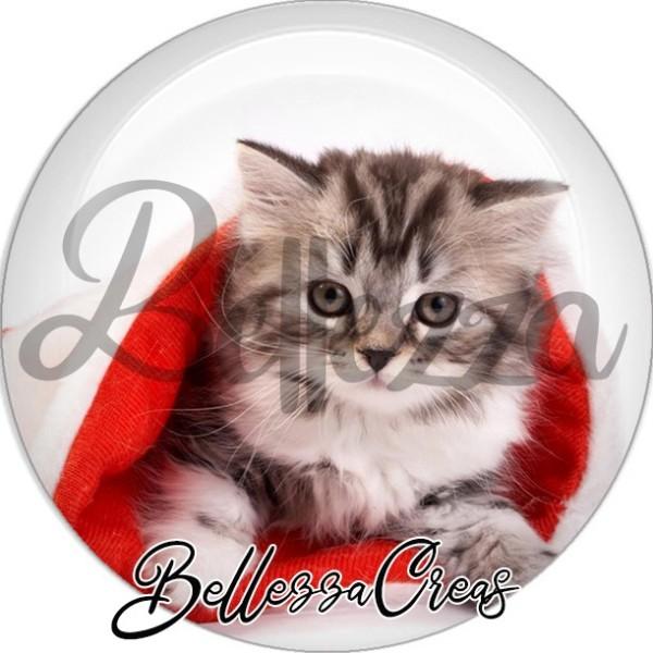 Cabochon, chaton gris et blanc,Noël, évènement, plusieurs tailles disponibles - Photo n°1