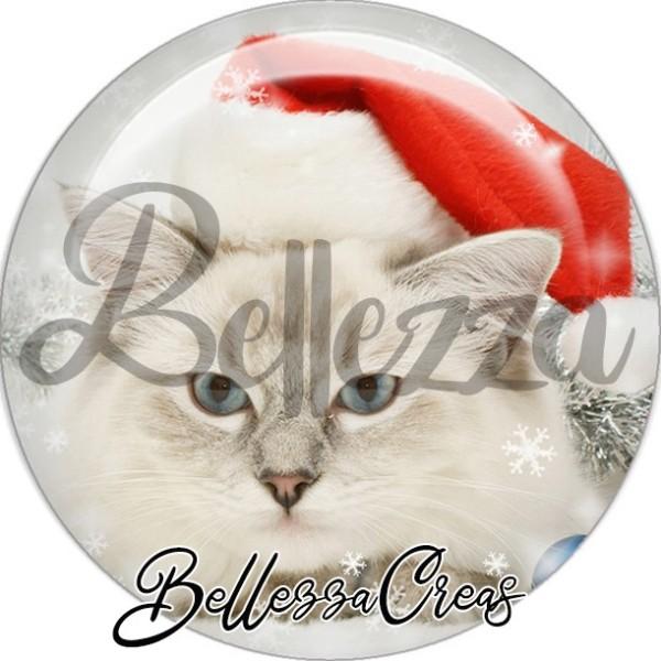 Cabochon, chat gris et blanc yeux bleus,Noël, évènement, plusieurs tailles disponibles - Photo n°1