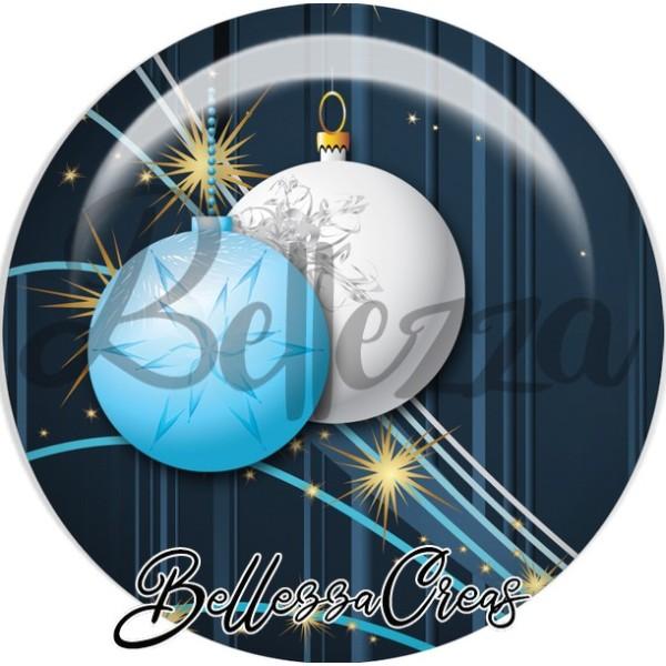 Cabochon, boule bleue blanche noël,Noël, évènement, plusieurs tailles disponibles - Photo n°1