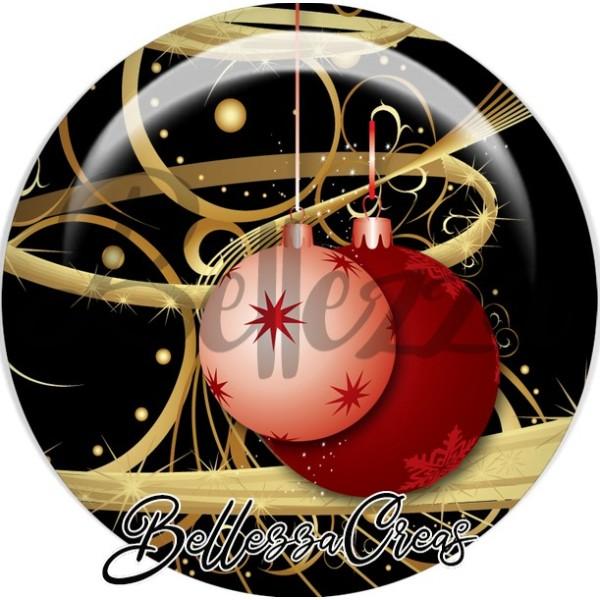 Cabochon, boule rose et rouge noël,Noël, évènement, plusieurs tailles disponibles - Photo n°1