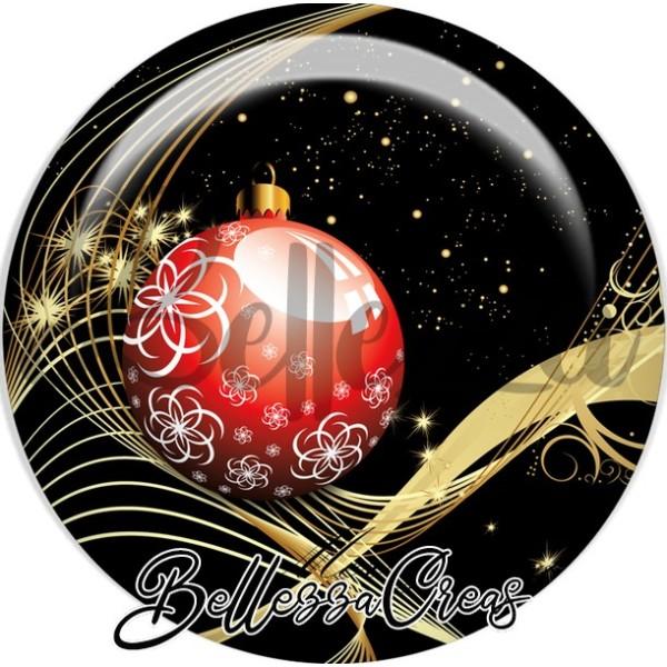 Cabochon, boule rouge noël,Noël, évènement, plusieurs tailles disponibles - Photo n°1