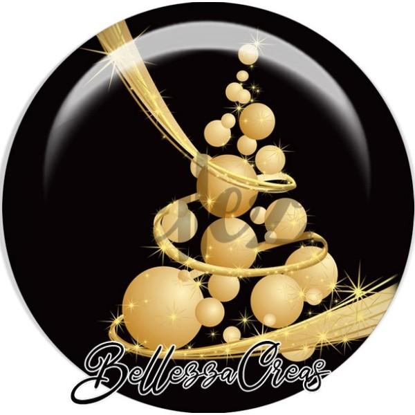 Cabochon, sapin en boules or noël,Noël, évènement, plusieurs tailles disponibles - Photo n°1