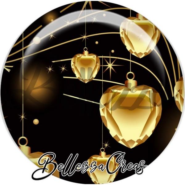 Cabochon, coeurs or noël,Noël, évènement, plusieurs tailles disponibles - Photo n°1