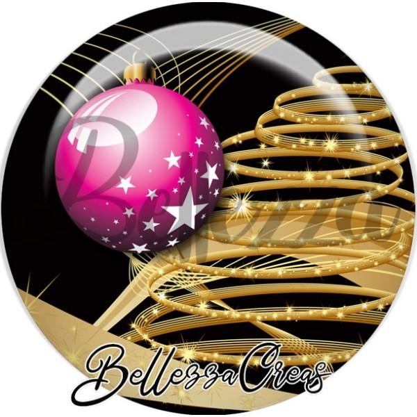 Cabochon, boule rose sapin or ruban noël,Noël, évènement, plusieurs tailles disponibles - Photo n°1