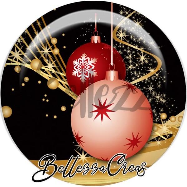 Cabochon, boule rose étoile, rouge flocon,Noël, évènement, plusieurs tailles disponibles - Photo n°1