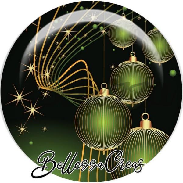 Cabochon, boules verte striées or,Noël, évènement, plusieurs tailles disponibles - Photo n°1