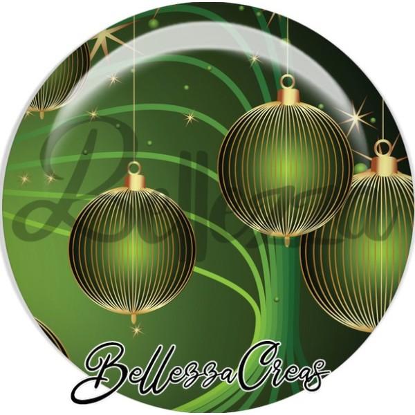 Cabochon, boules verte striées or noël,Noël, évènement, plusieurs tailles disponibles - Photo n°1