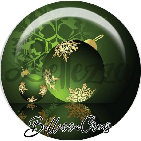 Cabochon, boule verte flocon noël,Noël, évènement, plusieurs tailles disponibles - Photo n°1