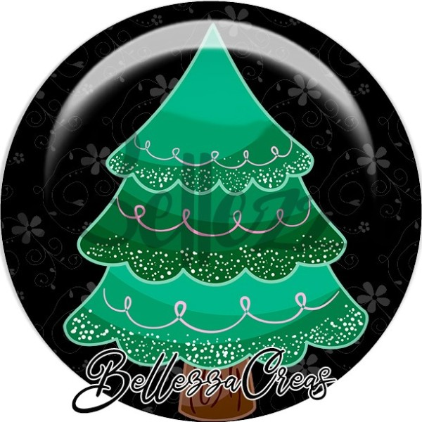Cabochon, sapin vert dégradé,Noël, évènement, plusieurs tailles disponibles - Photo n°1