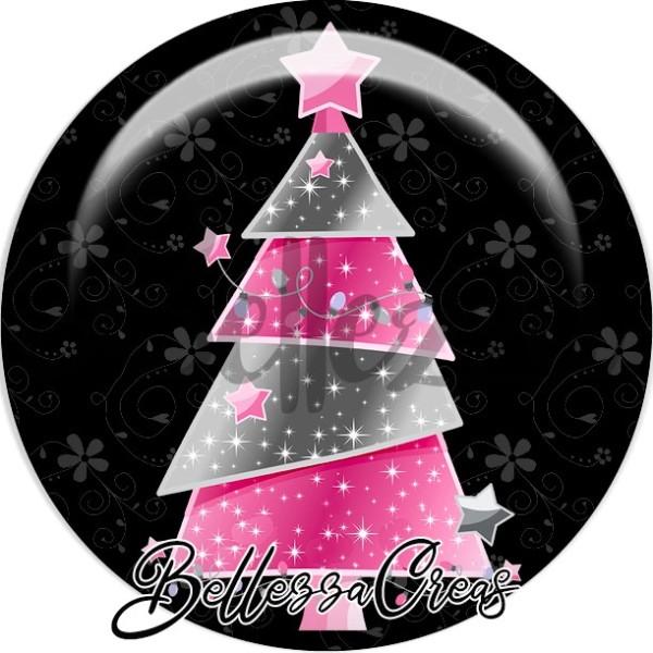 Cabochon, sapin rose et gris étoiles,Noël, évènement, plusieurs tailles disponibles - Photo n°1