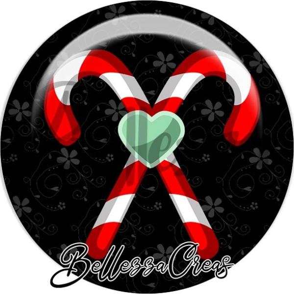 Cabochon, canne sucre rouge jaune, coeur,Noël, évènement, plusieurs tailles disponibles - Photo n°1